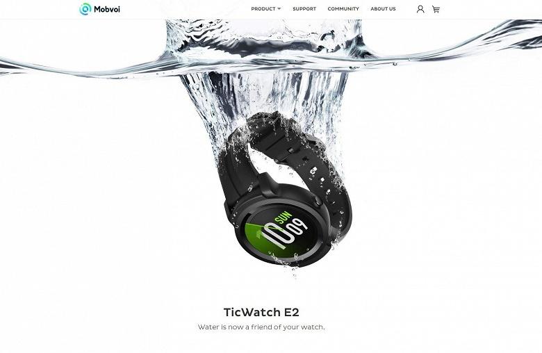 Изображение на сайте производителя говорит о водонепроницаемости часов Mobvoi Ticwatch E2