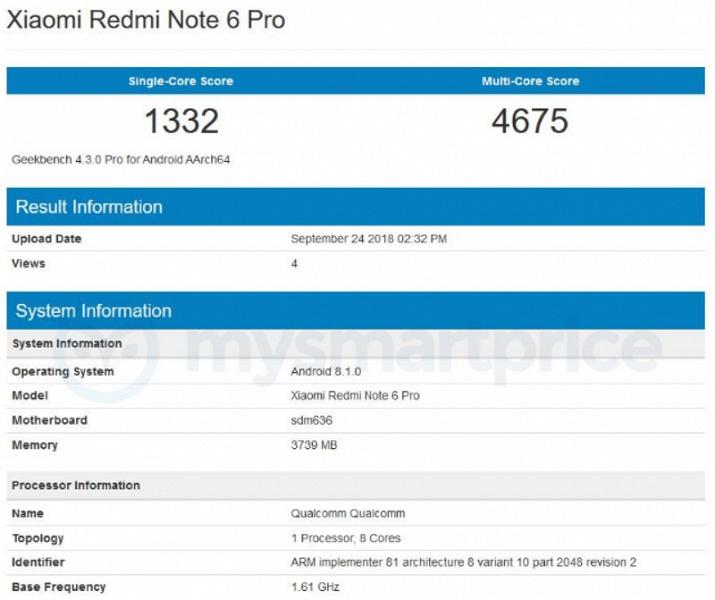 Смартфон Xiaomi Redmi Note 6 Pro показал, на что способна SoC Snapdragon 636