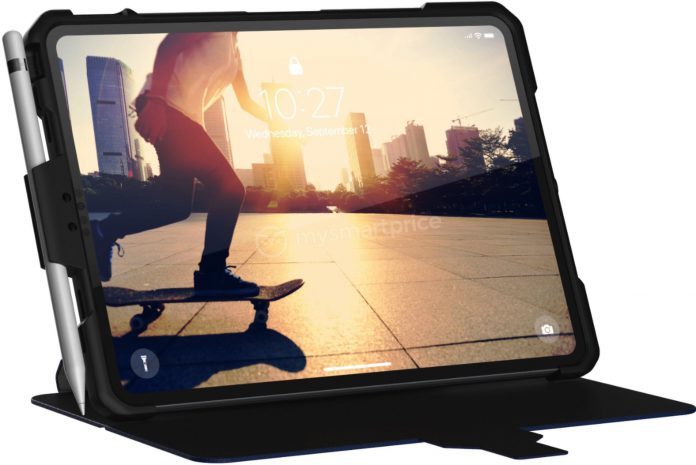 Планшет iPad Pro в чехле со стилусом Apple Pencil позирует на новом изображении