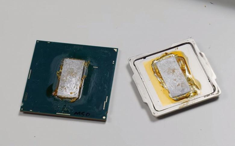 Замена штатного термоинтерфейса жидкометаллическим компаундом Thermal Grizzly Conductonaut позволила снизить температуру Intel Core i9-9900K на 9°С