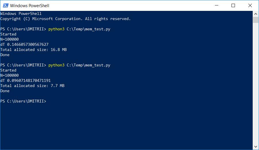 Python: как уменьшить расход памяти вдвое, добавив всего одну строчку кода? - 1