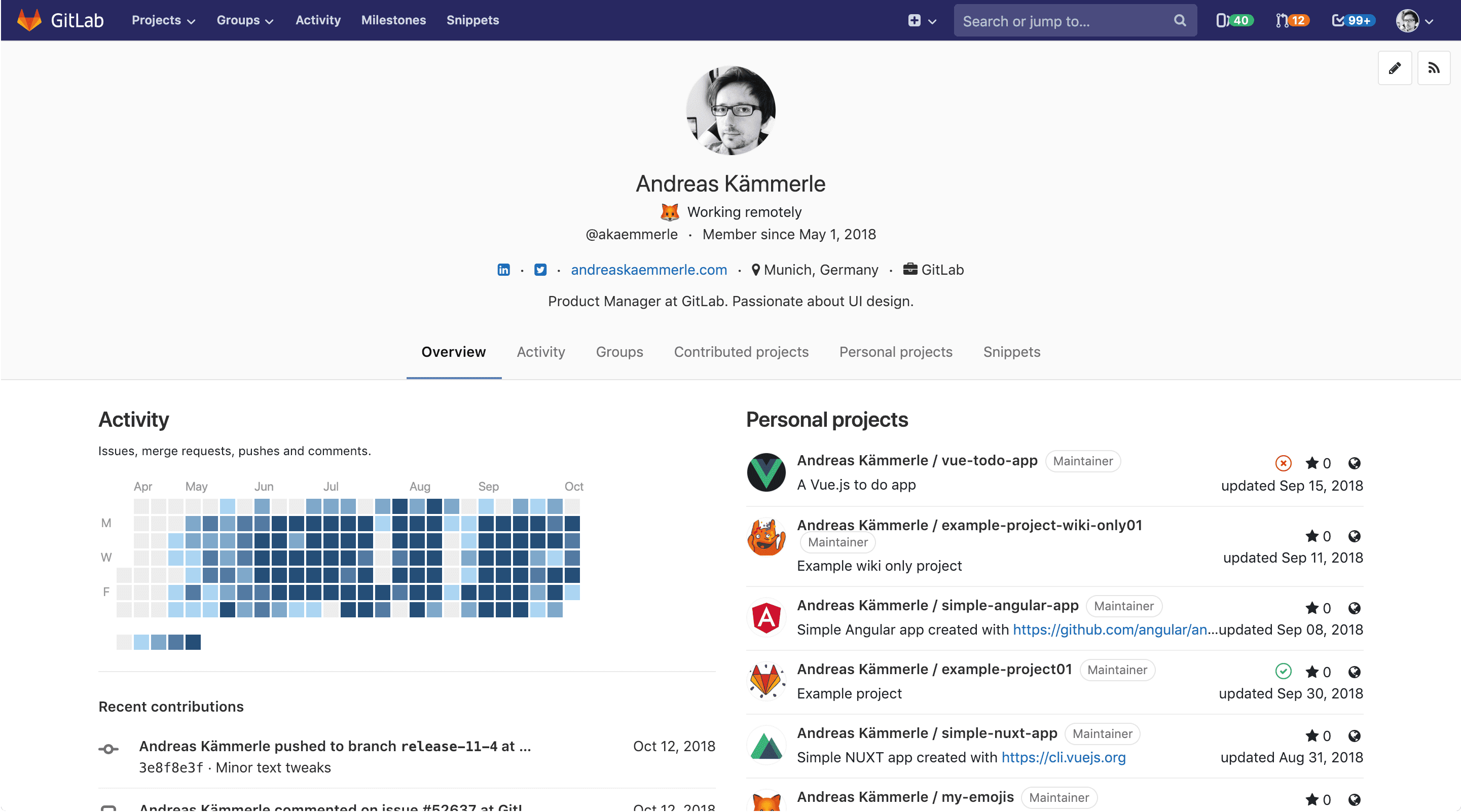 New user profile page overview