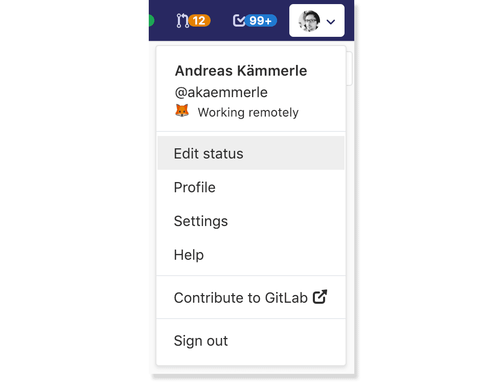 Set and show your status message within the user menu