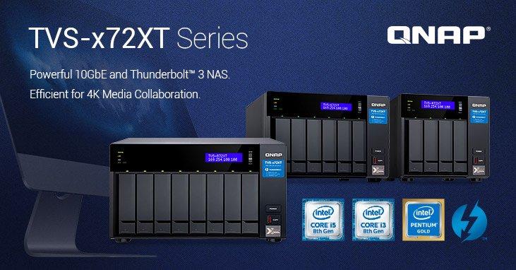 Хранилища серии QNAP TVS-x72XT оснащены портами 10GbE и Thunderbolt 3