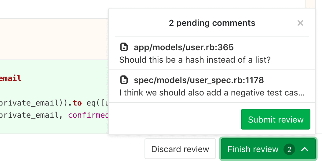 Preview merge request review before submitting it