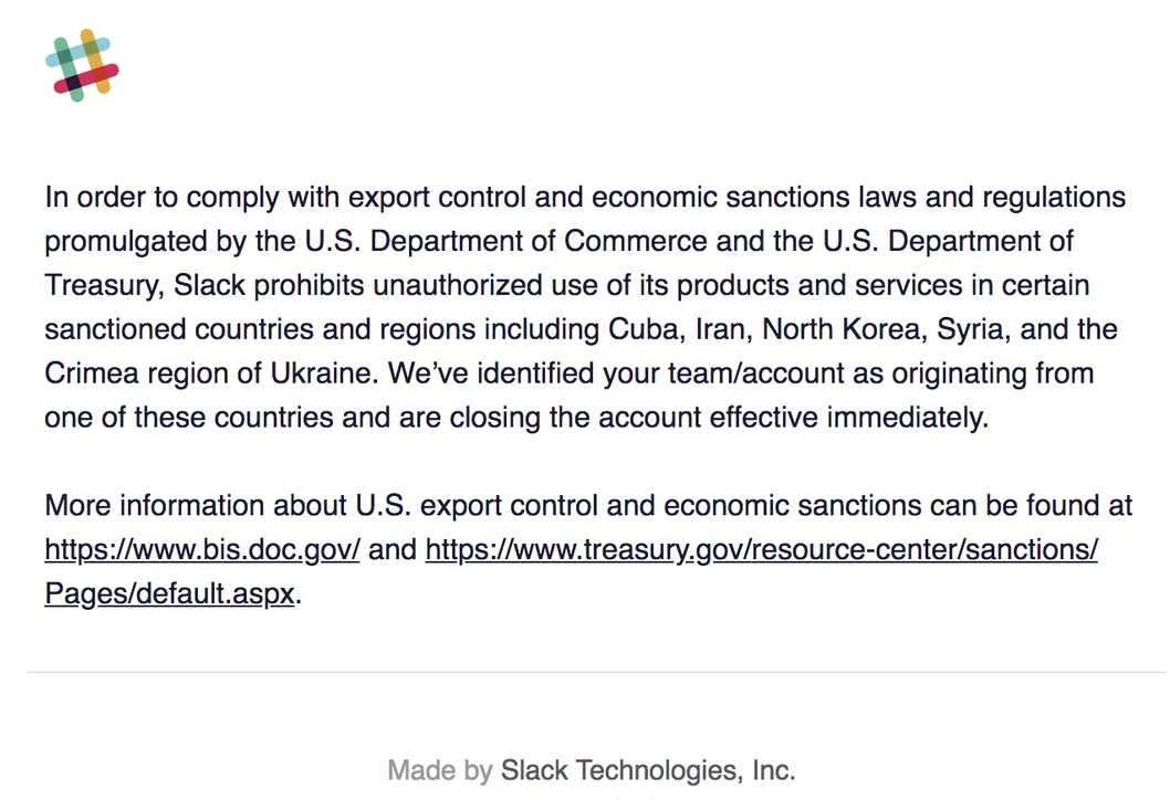 Slack банит аккаунты из Крыма - 1