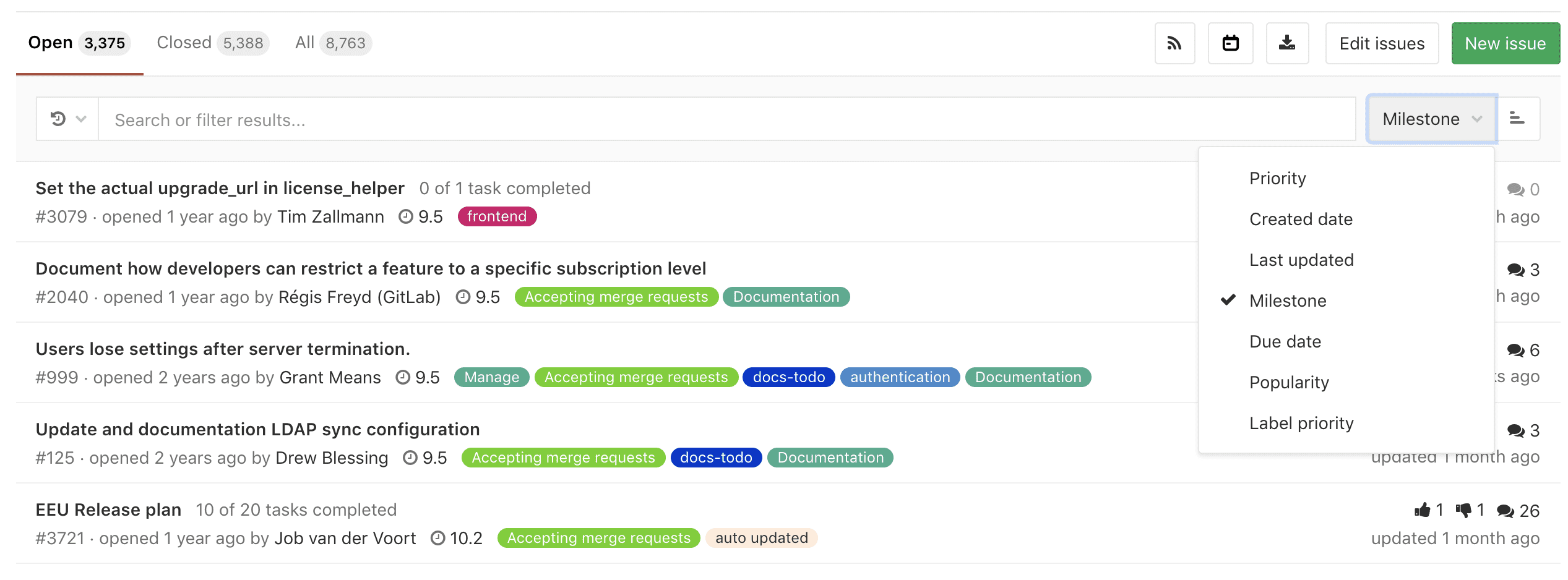 Per-user saved sort order in issues, merge requests, and epics
