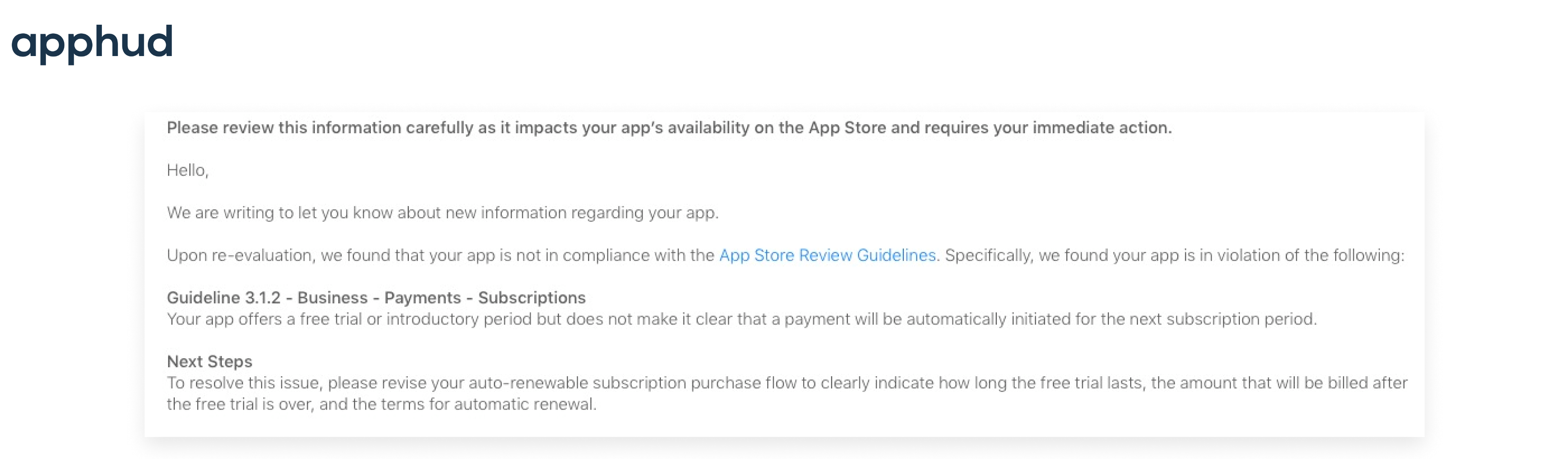 Пример отклонения приложения из-за проблем с отображением условий подписки