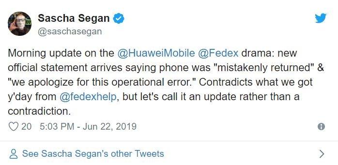 Продолжение истории с FedEx и недошедшим до адресата Huawei P30 Pro: курьерская компания извинилась и признала инцидент ошибкой