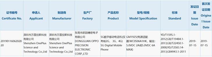 OnePlus 7 Pro 5G сертифицирован в Китае, скоро смартфон должен появиться в продаже