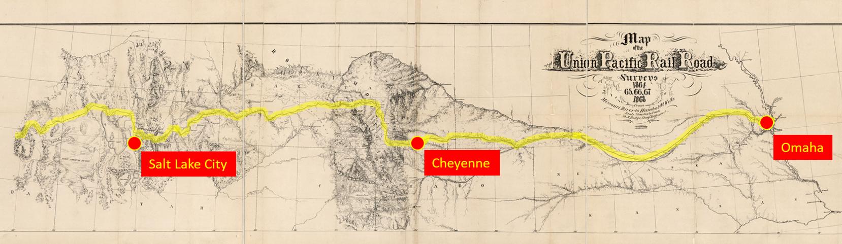 Карта проекта трансконтинентальной ЖД 1864 года