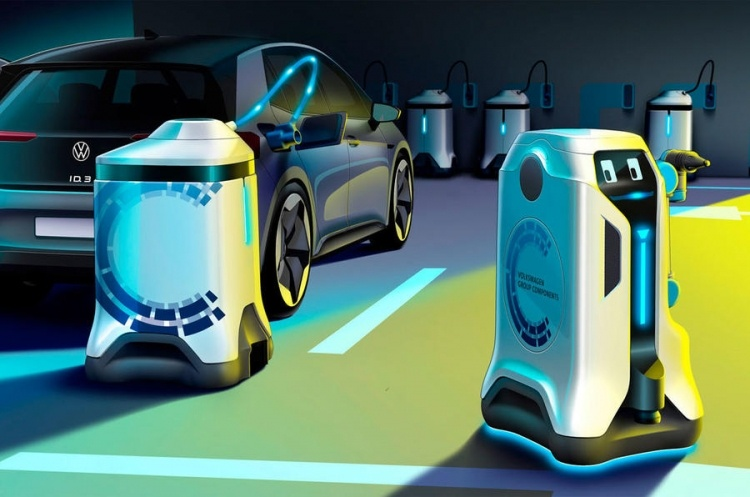 Volkswagen представила концепт робота для автономной зарядки электромобиля