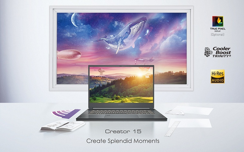 Основой ноутбука MSI Creator 15 служит процессор Intel Core i7-10875H