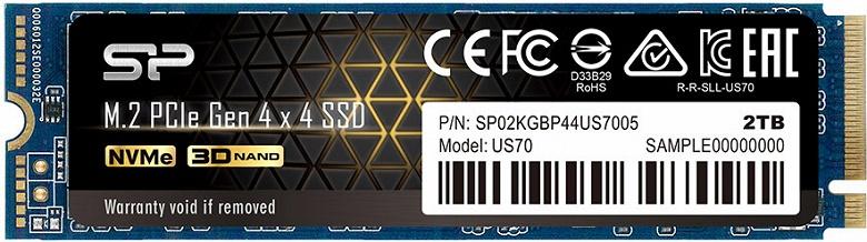 Твердотельный накопитель Silicon Power US70 оснащен интерфейсом PCIe Gen 4 x4
