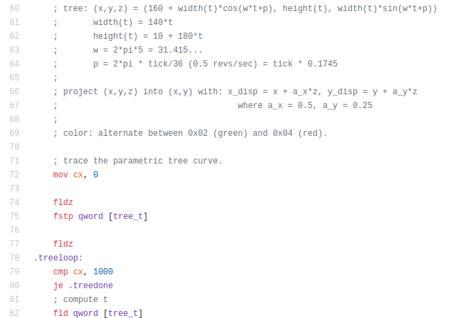 TreeOS. 16-битная рождественская демка в загрузочном секторе - 12