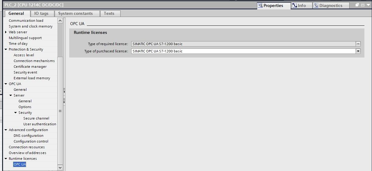 OPC UA для CPU S7-1200 (FW4.4). Настройка сервера - 2