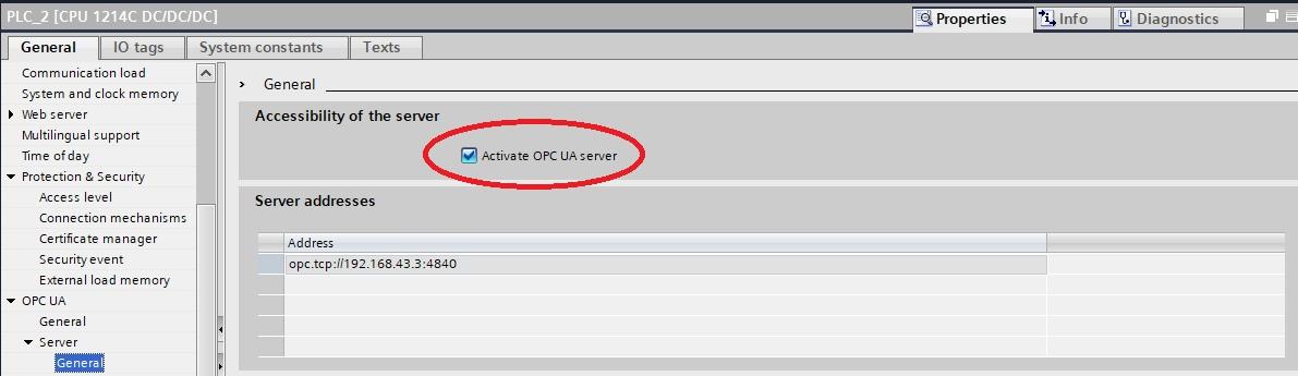 OPC UA для CPU S7-1200 (FW4.4). Настройка сервера - 1