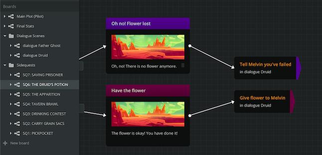 Чтобы история переходила от одной борды к другой, расставляйте джамперы. На скриншоте два разных джампера ведут к сцене «Разговор с друидом».