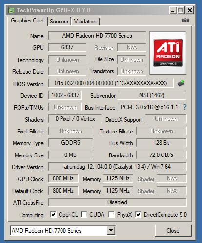 AMD Radeon HD 7730, GPU-Z