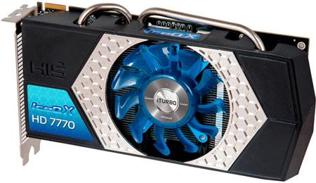 Охладитель HIS Radeon HD 7770 IceQ X iTurbo X полностью прикрывает печатную плату черного цвета