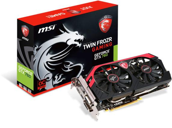 3D-карты MSI GeForce GTX 760 Gaming оснащены системой охлаждения Twin Frozr IV Advanced с двумя 100-миллиметровыми вентиляторами