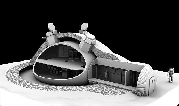 3D принтер напечатает лунную базу из реголита