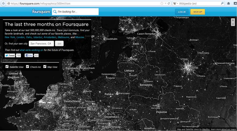 500 000 000 чекинов Foursquare на спутниковой карте