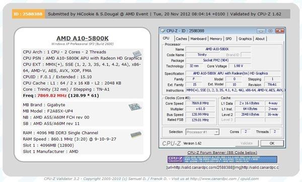 APU AMD A10 5800K удалось разогнать до 7,86 ГГц