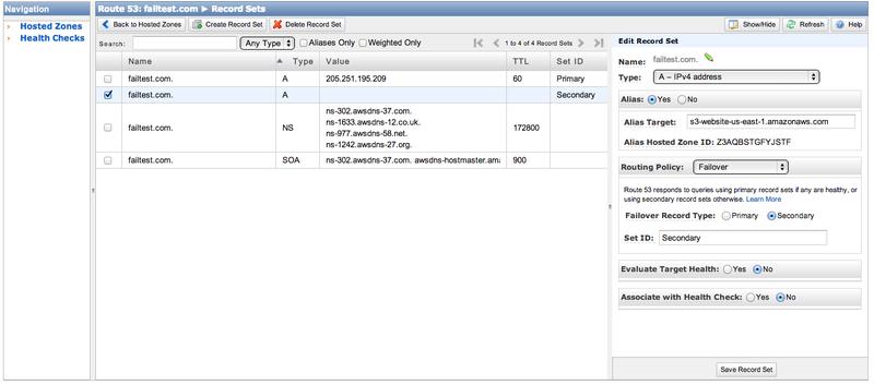 AWS: Route53, DNS отказоустойчивость, Active Passive