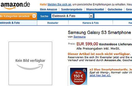 Amazon.de начал прием заказов на Samsung Galaxy S III