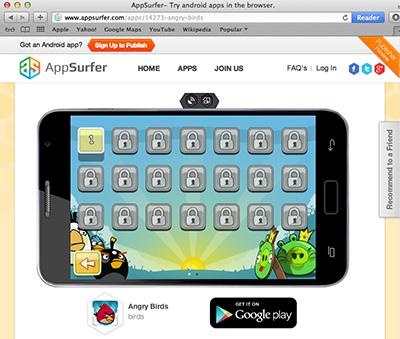 AppSurfer в действии — андроид программы в браузере
