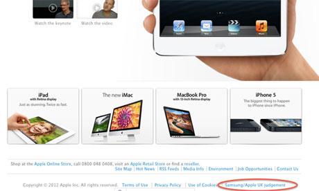 Apple перепишет извинение перед Samsung и опубликует его целиком на главной странице