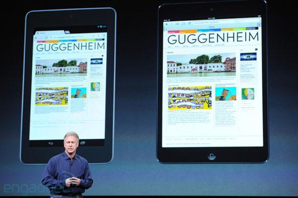 iPad mini против Google Nexus 7: сравнение размеров дисплеев
