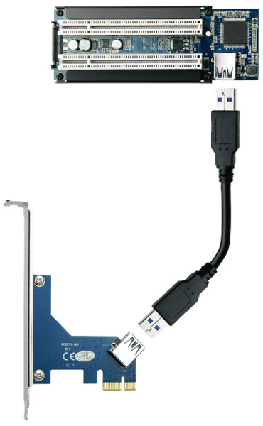 Area SD-PECPCiRi превращает слот PCI Express x1 в два слота PCI
