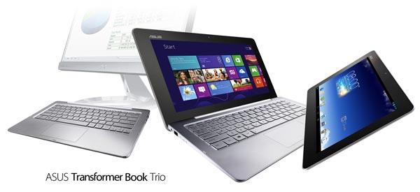 Asus Transformer Book Trio поставляется с предустановленными операционными системами Windows 8 и Android