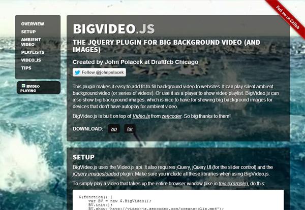 BigVideo.js: фоновое видео на весь экран