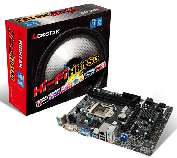Системная плата Biostar Hi-Fi H81S3 поддерживает процессоры Intel Core четвертого поколения