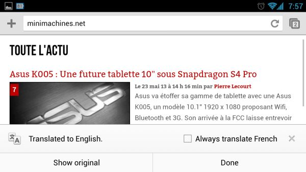 Chrome 28 Beta for Android вышел со встроенным Google Translate