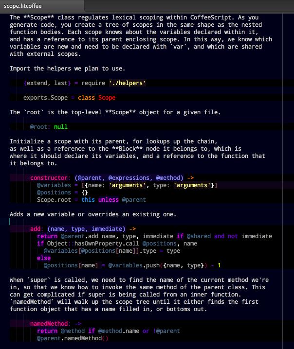 CoffeeScript 1.5.0 позволяет писать комментарии в формате Markdown