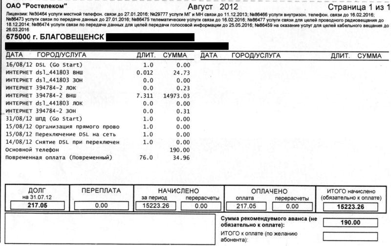 DSL по оптоволокну от ОАО «Ростелеком»