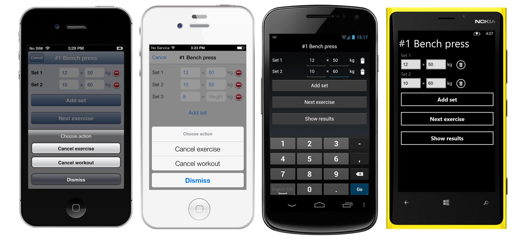 DXWorkout — мобильное HTML5 приложение на PhoneJS и ChartJS