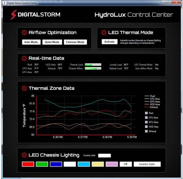 Программа HydroLux Control Center дает полную информацию о работе системы охлаждения
