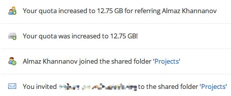 Dropbox дарит 500Mb за участников в общих папках