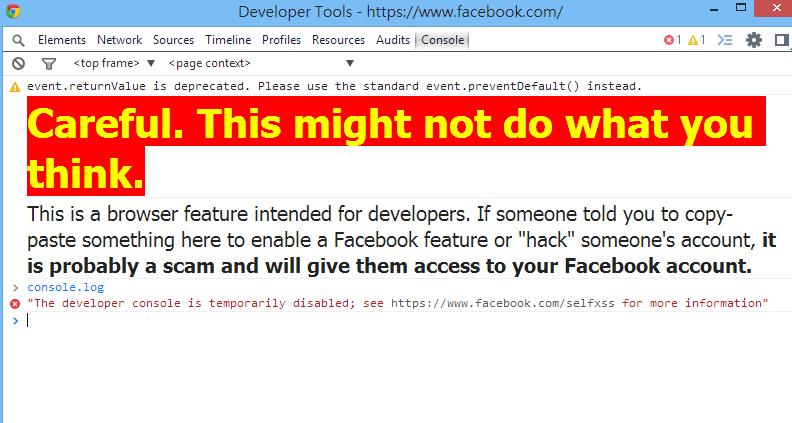 Facebook пытается блокировать консоль разработчика в браузере Chrome