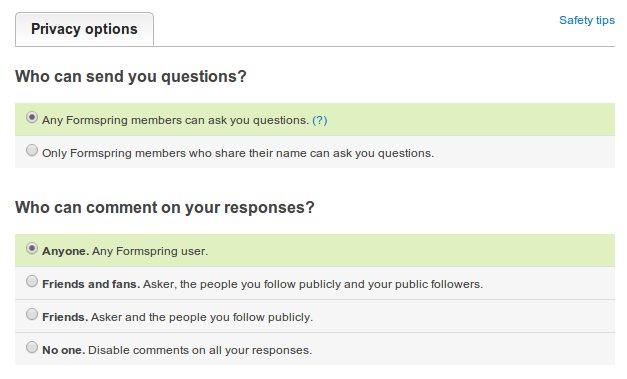 Formspring отключил анонимные вопросы; регрессия продолжается