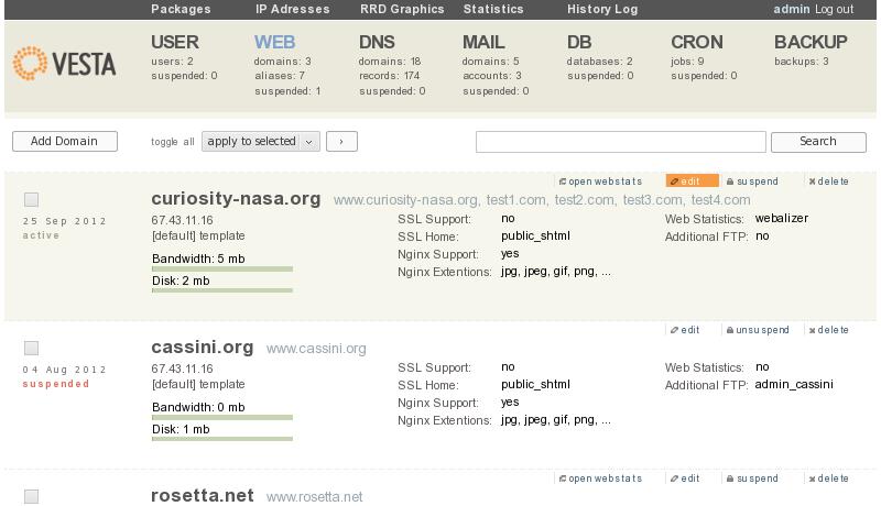 GPL панель управления сервером Vesta