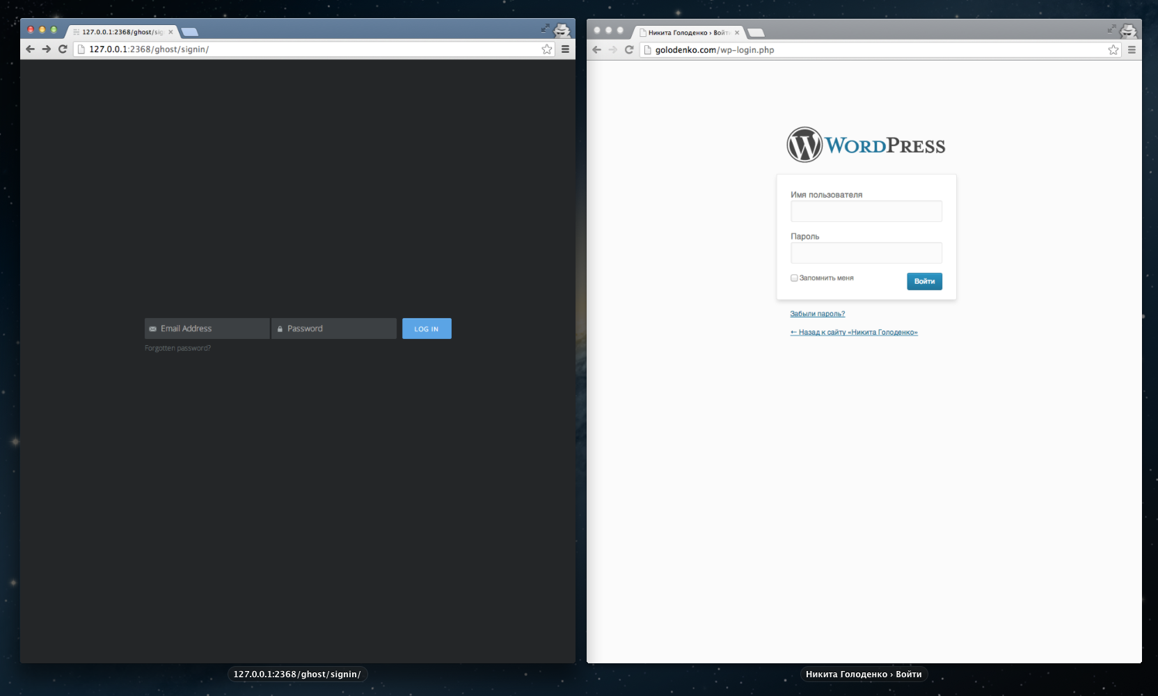 wordpress ghost admin panel