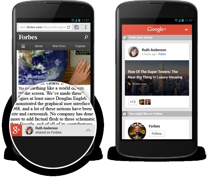 Пользователи рекомендую контент на Google Plus