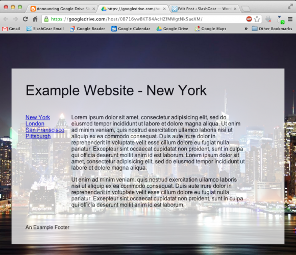Google Drive теперь поддерживает публикацию веб сайтов