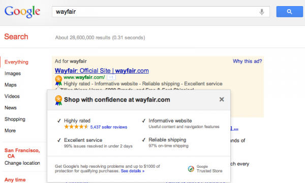 Google запустил сервис Trusted Stores в тестовом режиме